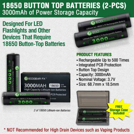 18650 Button Top Batteries Specifications