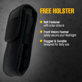 led tactical flashlight with holster