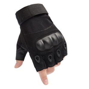 hard knuckle glove half finger black