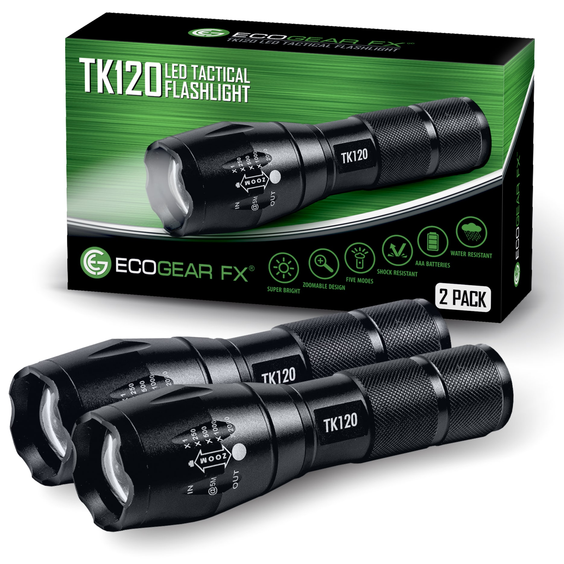 TK120 Tactical LED Flashlight with 5 Light Modes and Zoom (2-Pack)