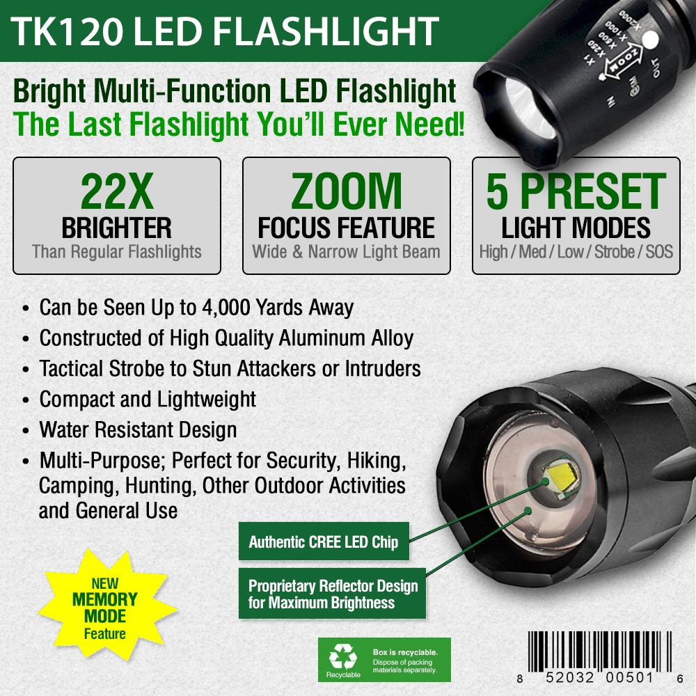 Tactical LED Flashlight with Strobe Light Feature for Self Defense ...