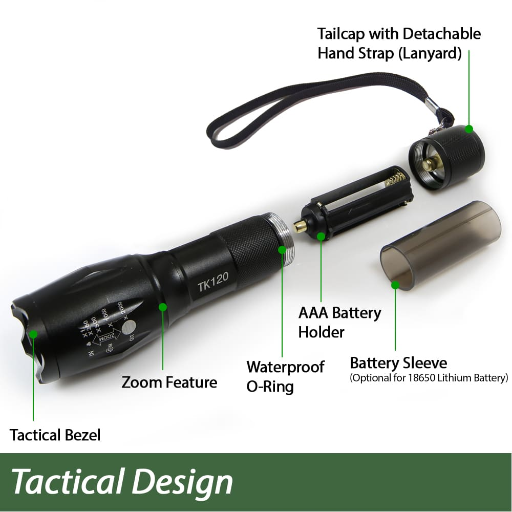 Free Shipping EcoGear FX TK120 LED Tactical Flashlight Kit Brand New