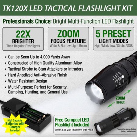 LED Tactical Flashlight Rechargeable